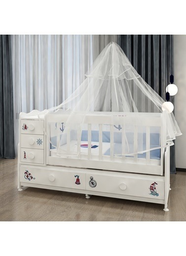 Garaj Home Garaj Home Melina Denizci Uyku Setli Beşik Kombini / Uyku Seti Gri Gri